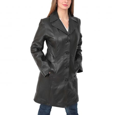 Womens 3/4 Length Soft Leather Classic Coat Macey Black