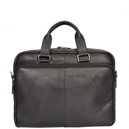 Mens Leather Laptop Organiser Briefcase HL341 Black