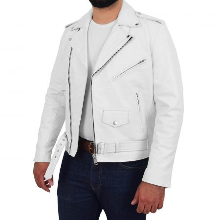 Mens Heavy Duty Leather Biker Brando Jacket Kyle White