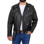 Mens Biker Brando Leather Jacket with Fringes Wayne Black