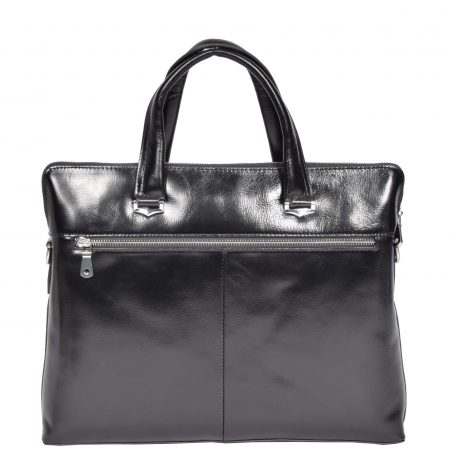 Italian Leather Cross Body Briefcase H9891 Black