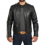 Mens Biker Leather Jacket with Stripes Alfie Black