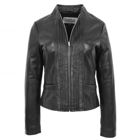 Womens Leather Casual Standing Collar Jacket Ivy Black