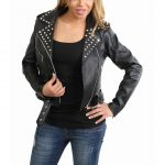 Womens Leather Studded Brando Style Jacket Salma Black