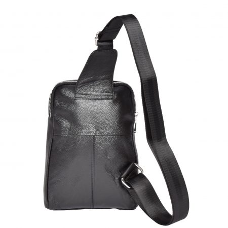 Small Leather Cross Body Backpack H7005 Black