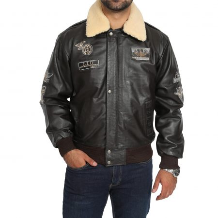 Mens Leather Jacket with Detachable Collar Pilot-N Brown