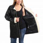Womens Leather 3/4 Length Coat Margaret Black Beige