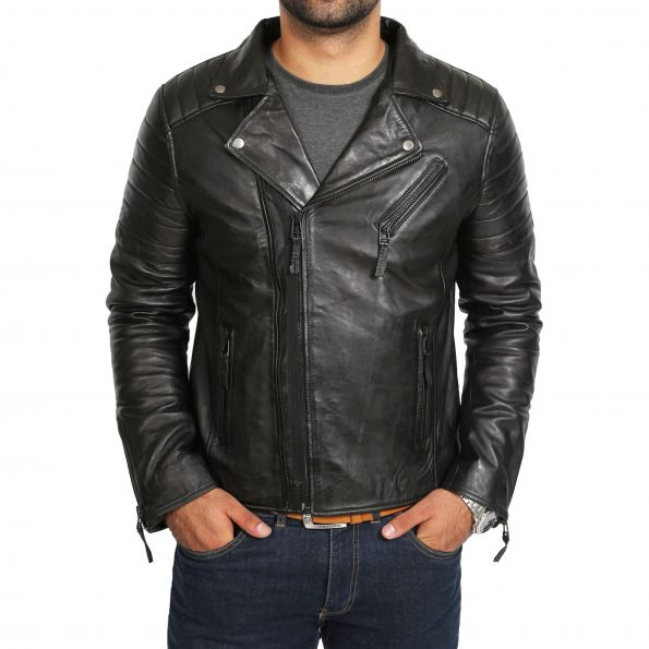Mens Biker Leather Jacket Dual Zip Hook Black