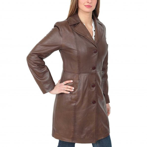 Women's 3/4 Soft Leather Brown Coat