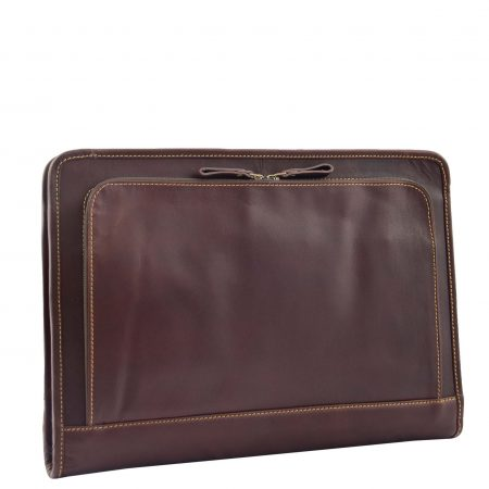 Real Leather Zip Around A4 Portfolio Case Elvas Brown