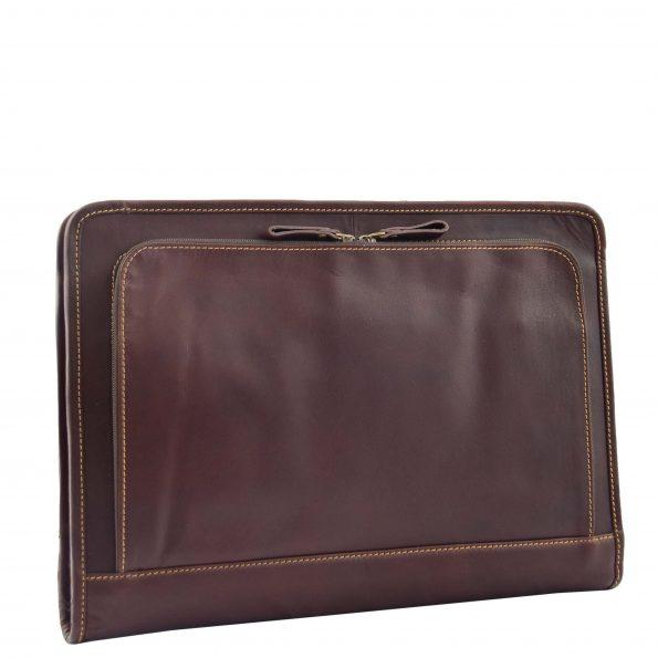 Real Leather Zip Around A4 Portfolio Case Elvas Brown