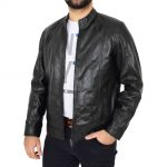 Mens Soft Leather Casual Plain Zip Jacket Matt Black