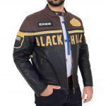 Mens Leather Racing Badges Jacket 'Black Hills' Brown