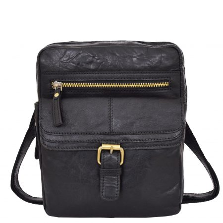 Mens Leather Cross Body Classic Flight Bag Ashton Black