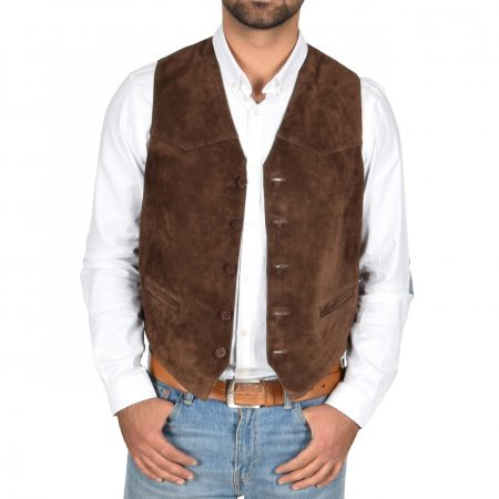 Mens Suede Button Fastening Waistcoat Don Brown