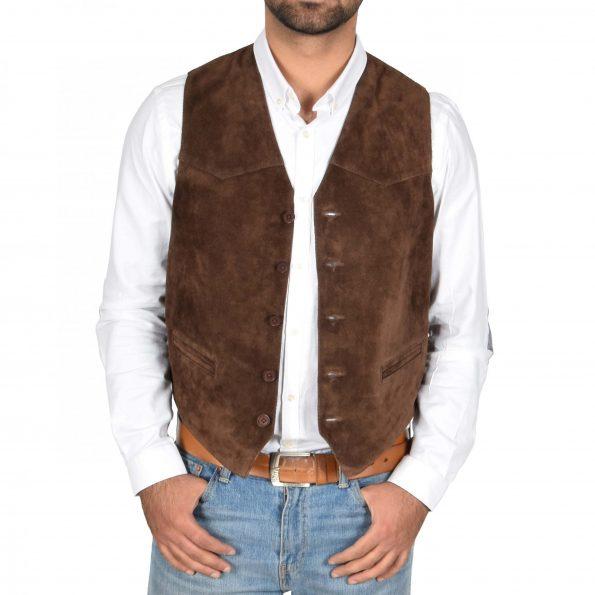 Men's Brown Suede Button Waistcoat