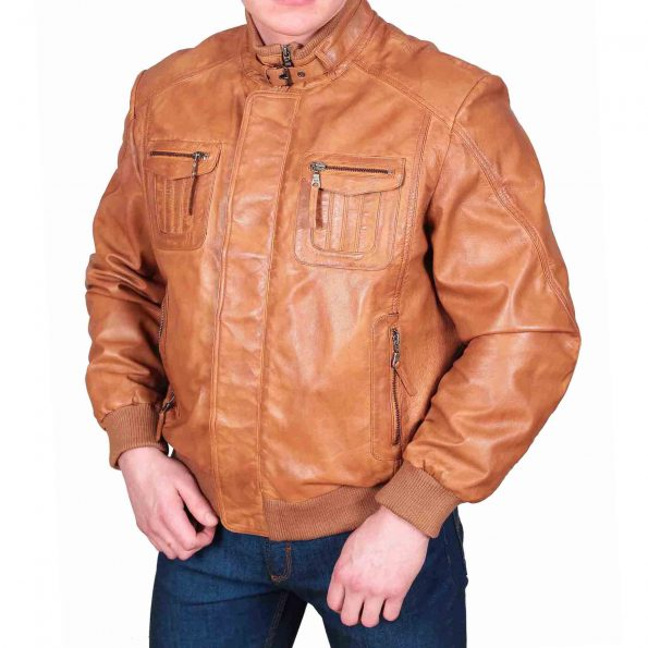Mens Leather Bomber Jacket Slim Fit Tom Tan