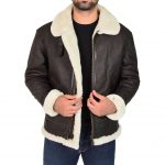 Men's Classic B3 Original Sheepskin Jacket Brown White
