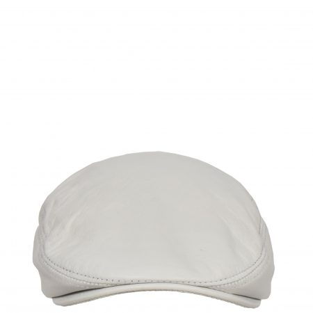 Soft Leather Classic Flat Cap White