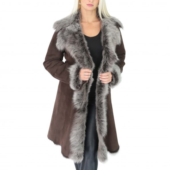 Womens 3/4 Length Toscana Shearling Luxury Coat Brown Brissa