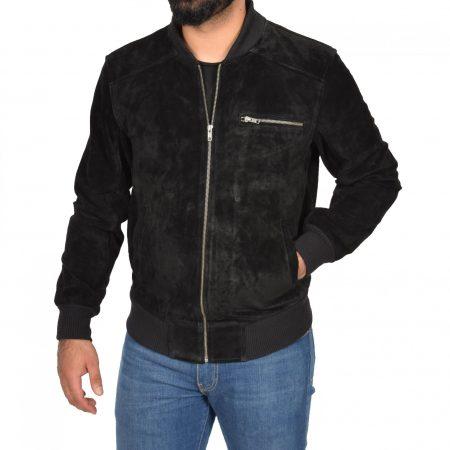 Mens Suede Bomber Varsity Jacket Reg Black