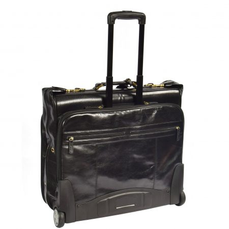 Leather Suit Carrier with Wheels HOL13 Black