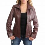 Womens Classic Zip Fastening Leather Jacket Julia Brown