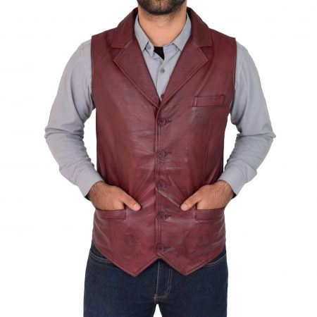 Mens Leather Buttoned Waistcoat Gilet Calvin Burgundy