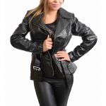 Womens Leather Hip Length Biker Jacket Celia Black