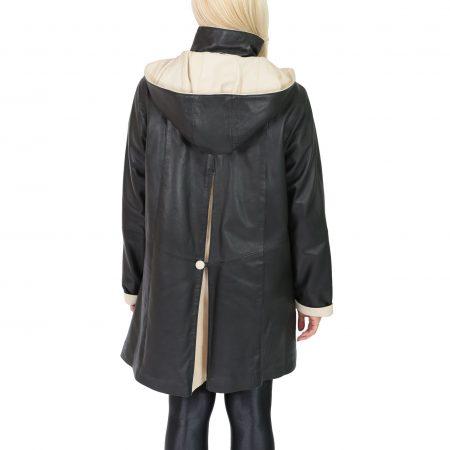 Women's Leather Classic Hooded Coat Black