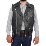 Mens Leather Cross Zip Biker Brando Gilet Jones Black