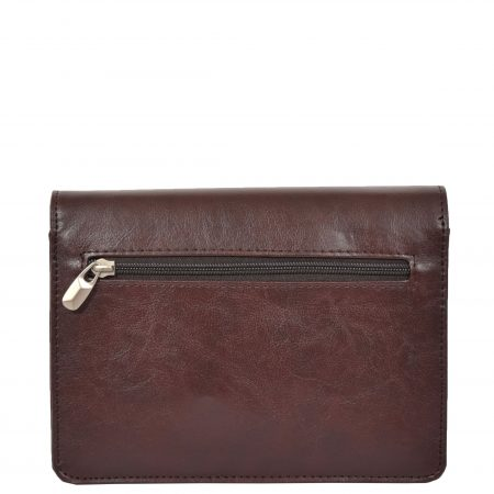 Lockable Leather Look Wrist Bag H10M Brown