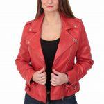 Womens Cross Zip Biker Leather Jacket Cara Red