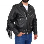 Men's Biker Leather Jacket with Fringes