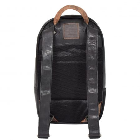 Large Multipurpose Leather Backpack HOL555 Black