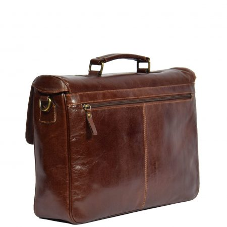 Mens Leather Messenger Briefcase HOL518 Brown