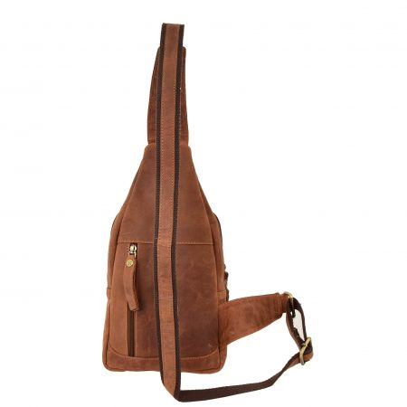 Mens Leather Cross Body Chest Bag Leo Tan