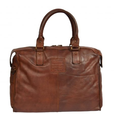 Vintage Leather Lightweight Duffle Bag HOL7799 Tan