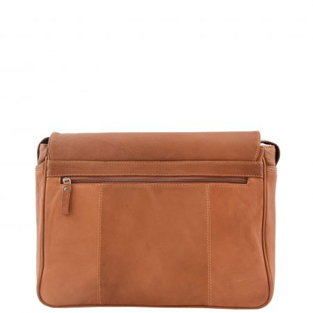 Mens Leather Flap Over Messenger Bag Cheriton Tan