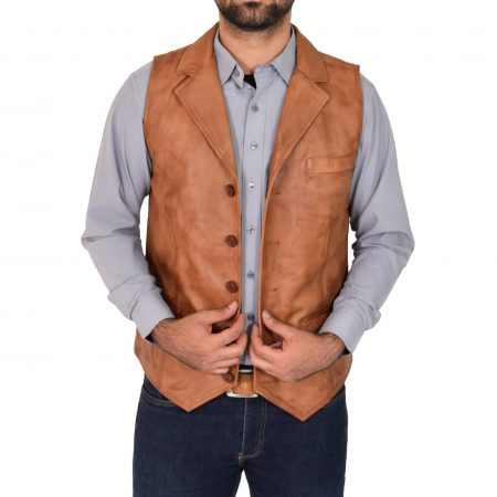 Mens Leather Buttoned Waistcoat Gilet Calvin Tan