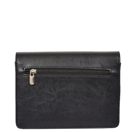 Lockable Leather Look Wrist Bag H10M Black