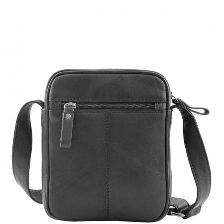 Mens Leather Cross Body Small Flight Bag Parkham Black
