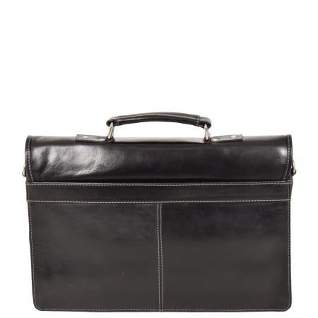 Slimline Leather Organiser Briefcase HOL7141 Black