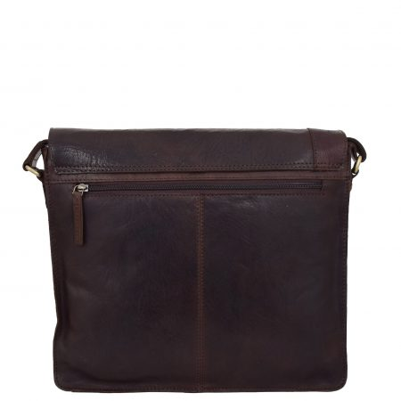 Mens Leather Flap Over Cross Body Bag Bristol Brown
