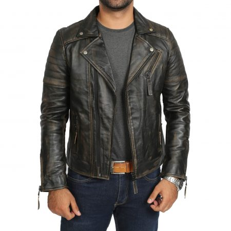 Mens Biker Leather Jacket Dual Zip Hook Rub Off