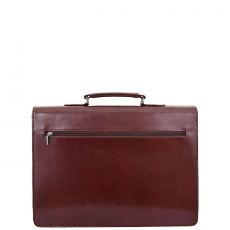 Mens Leather Flap Over Briefcase Dunkirk Brown