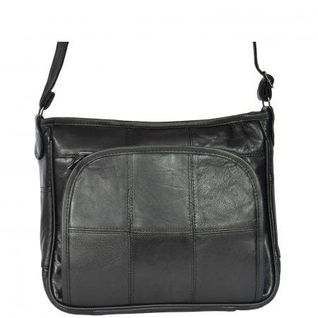 Multi Pocket Leather Shoulder Bag Black