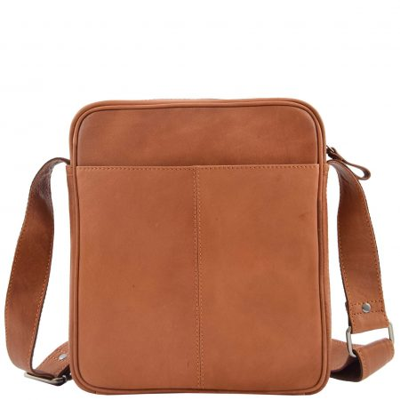 Mens Leather Cross Body Travel Flight Bag Aller Tan