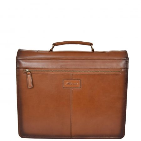 Mens Vintage Lockable Leather Briefcase York Tan