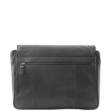 Mens Leather Flap Over Messenger Bag Cheriton Black
